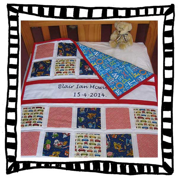 Personalised cot quilt – work in progress